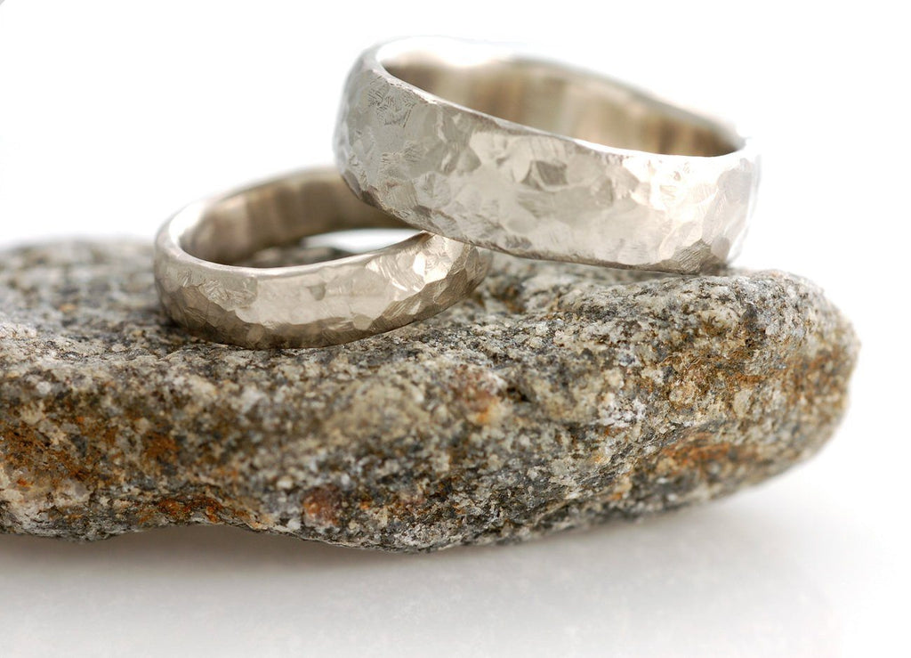 Love Rocks Wedding Rings in Palladium/Silver - Made to Order - Beth Cyr Handmade Jewelry