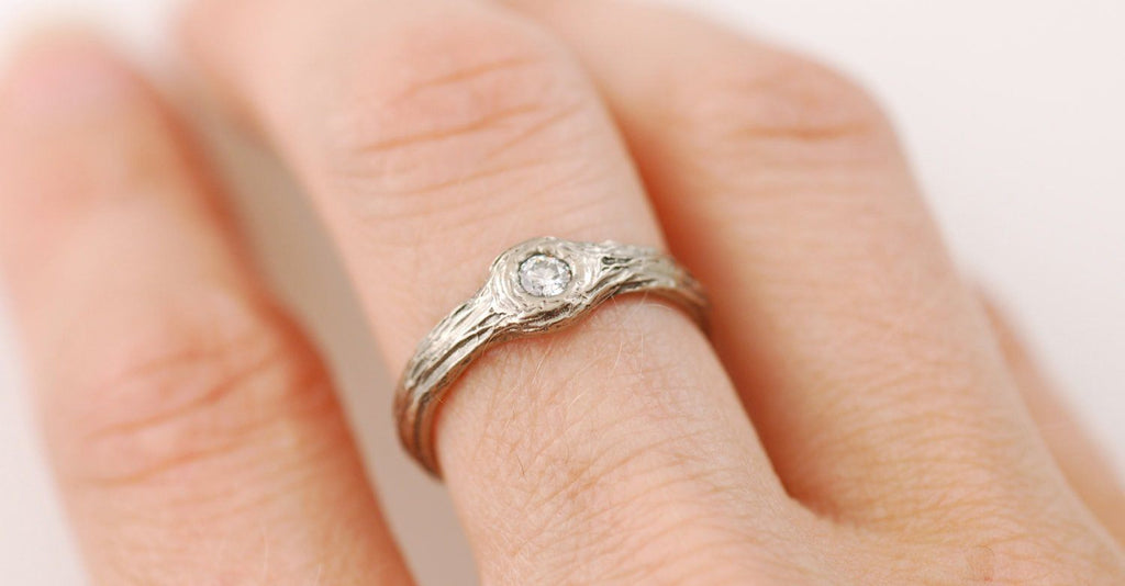 Tree Bark Love Knot Diamond Ring in 14k Palladium White Gold - size 5.5 - Ready to Ship - Beth Cyr Handmade Jewelry