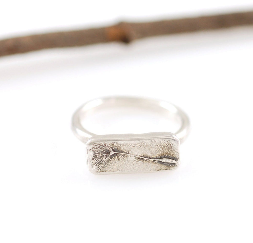 Dandelion Seed Ring in Palladium Sterling Silver - size 5.25 - Ready to Ship - Beth Cyr Handmade Jewelry