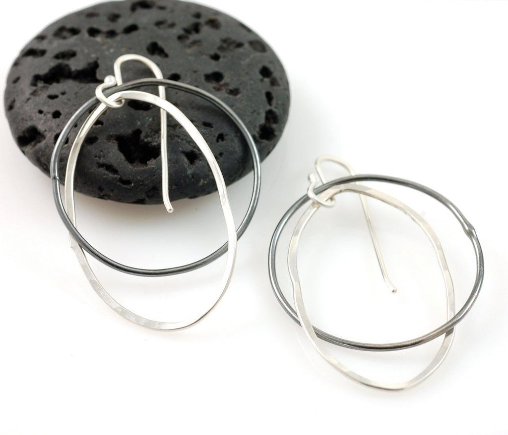 Night and Day Earrings - Argentium Sterling Silver Intertwined Circle and Oval - Made to Order - Beth Cyr Handmade Jewelry