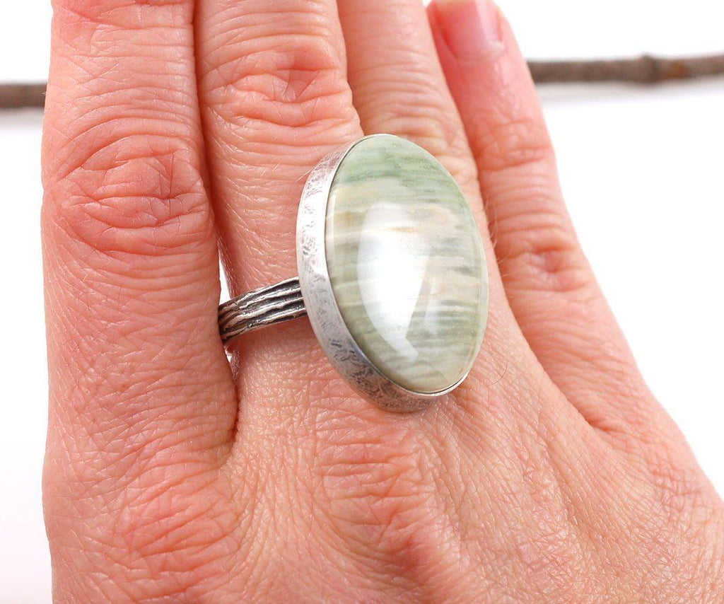 Petrified Wood and Tree Bark Texture Ring in Sterling Silver - size 7 - Ready to Ship - Beth Cyr Handmade Jewelry