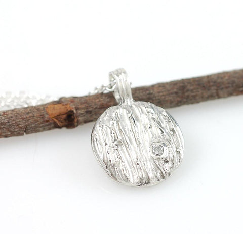 Tree Bark Pendant with Diamond Knot in Sterling Silver - Ready to Ship - Beth Cyr Handmade Jewelry