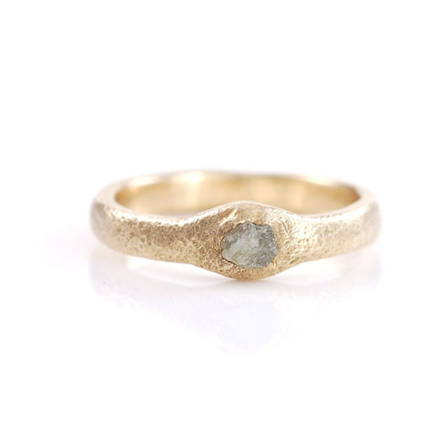 RESERVED - Sands of Time Ring #2 - Gray Rough Diamond in 14k Yellow Gold  - size 5.5 - Ready to Ship - Beth Cyr Handmade Jewelry