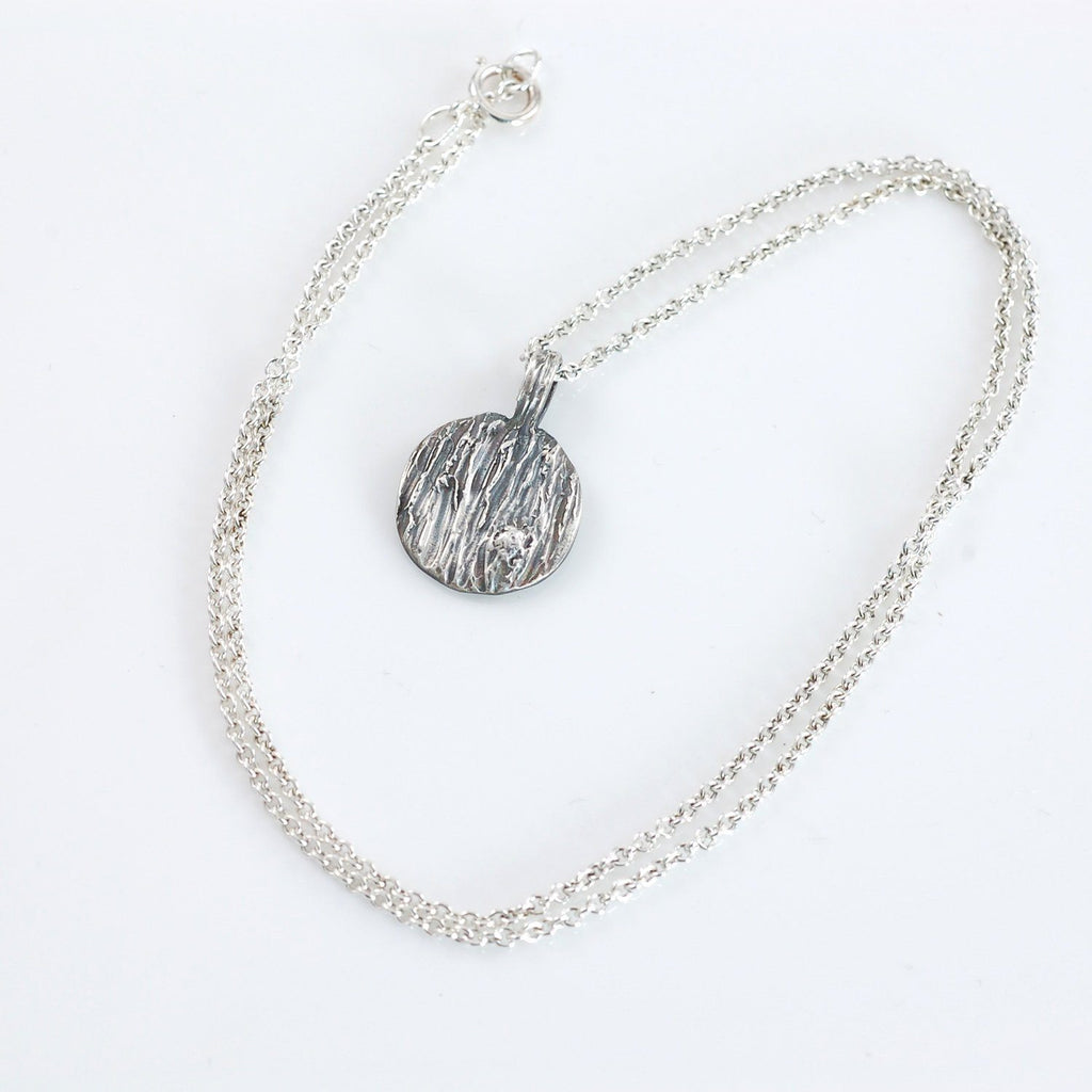 Tree Bark Pendant with Metal knot in Sterling Silver - Ready to Ship - Beth Cyr Handmade Jewelry