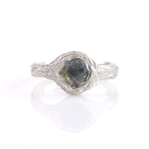 Tree Bark Ring with Rough Green Sapphire in Palladium Sterling Silver - size 6 - Ready to Ship - Beth Cyr Handmade Jewelry