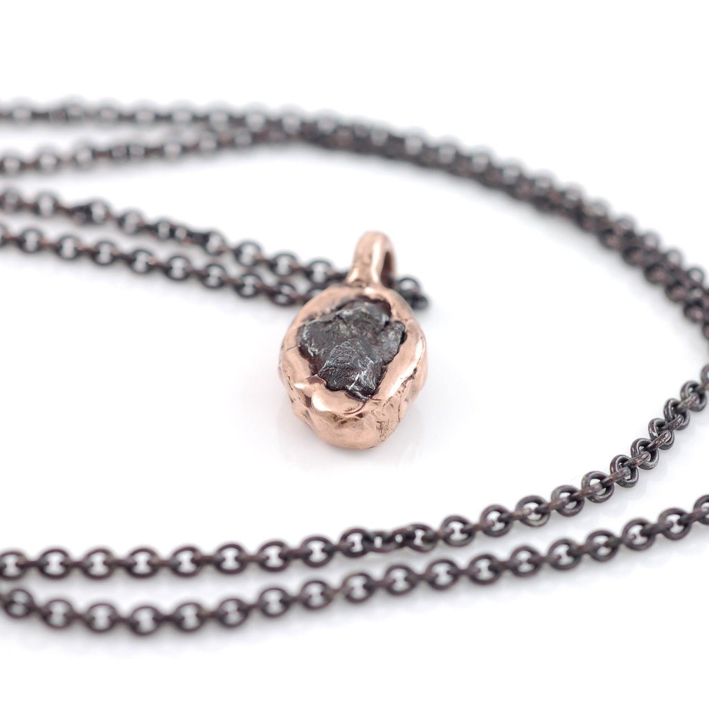 Meteorite Pendant in 14k Rose Gold - Made to order - Beth Cyr Handmade Jewelry