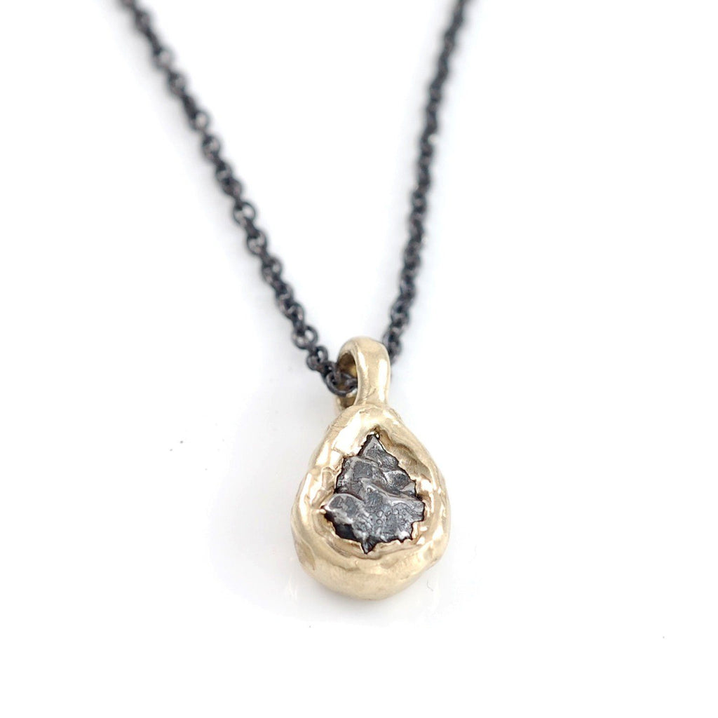 Meteorite Pendant in 14k Yellow Gold - Ready to Ship - Beth Cyr Handmade Jewelry