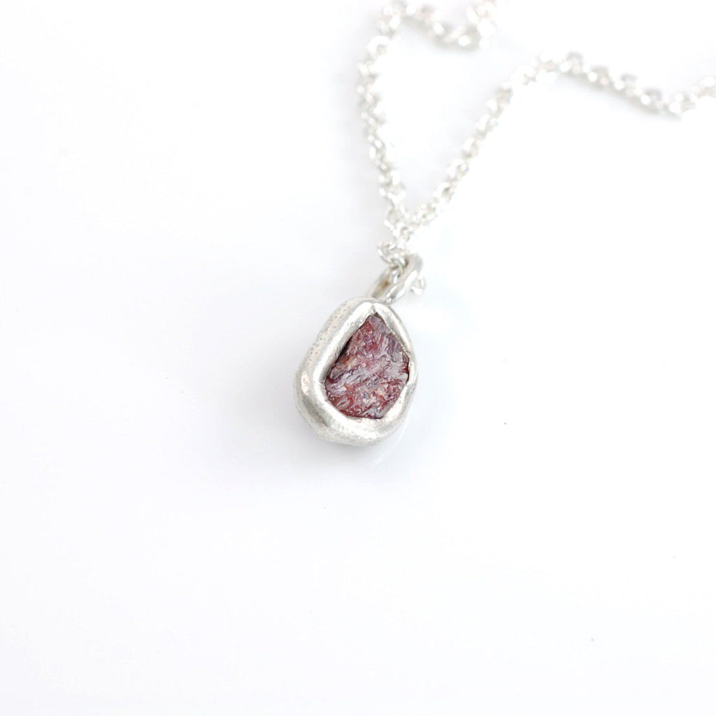 Rough Ruby Pendant #2 in Sterling Silver - Ready to Ship - Beth Cyr Handmade Jewelry
