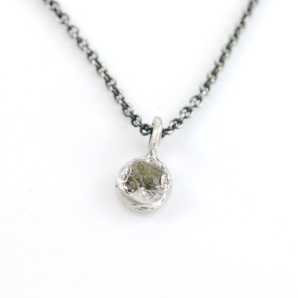 Tiny Rough Diamond Pendant #1 in Sterling Silver - Ready to Ship - Beth Cyr Handmade Jewelry