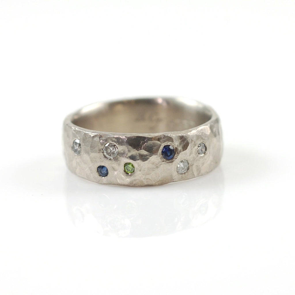 Love Rocks Ring with Scattered Diamonds and Sapphires in Palladium/Silver - size 6.25 - Ready to Ship - Beth Cyr Handmade Jewelry