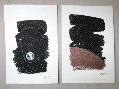"inktober days 19 and 20 - sling and tread - set of 2 original drawings - 4"" x 6"" - ready to ship"