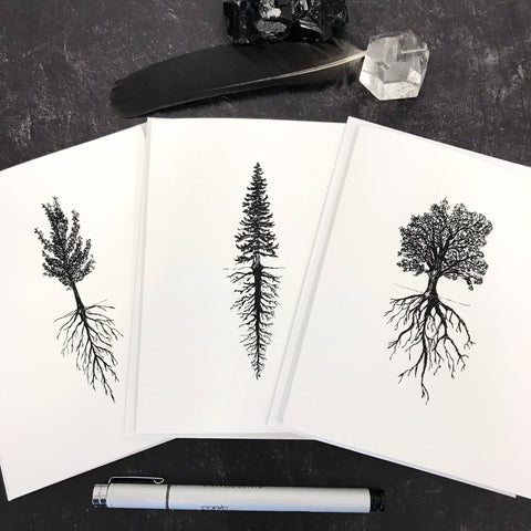 Tree and Root Notecard Set - card size 4.5 x 6.25 - ready to ship