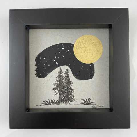 "Trees, Ferns and Canis Major with Full Moon - Grey and Gold Collection #18 - Original drawing - 4""x4"""