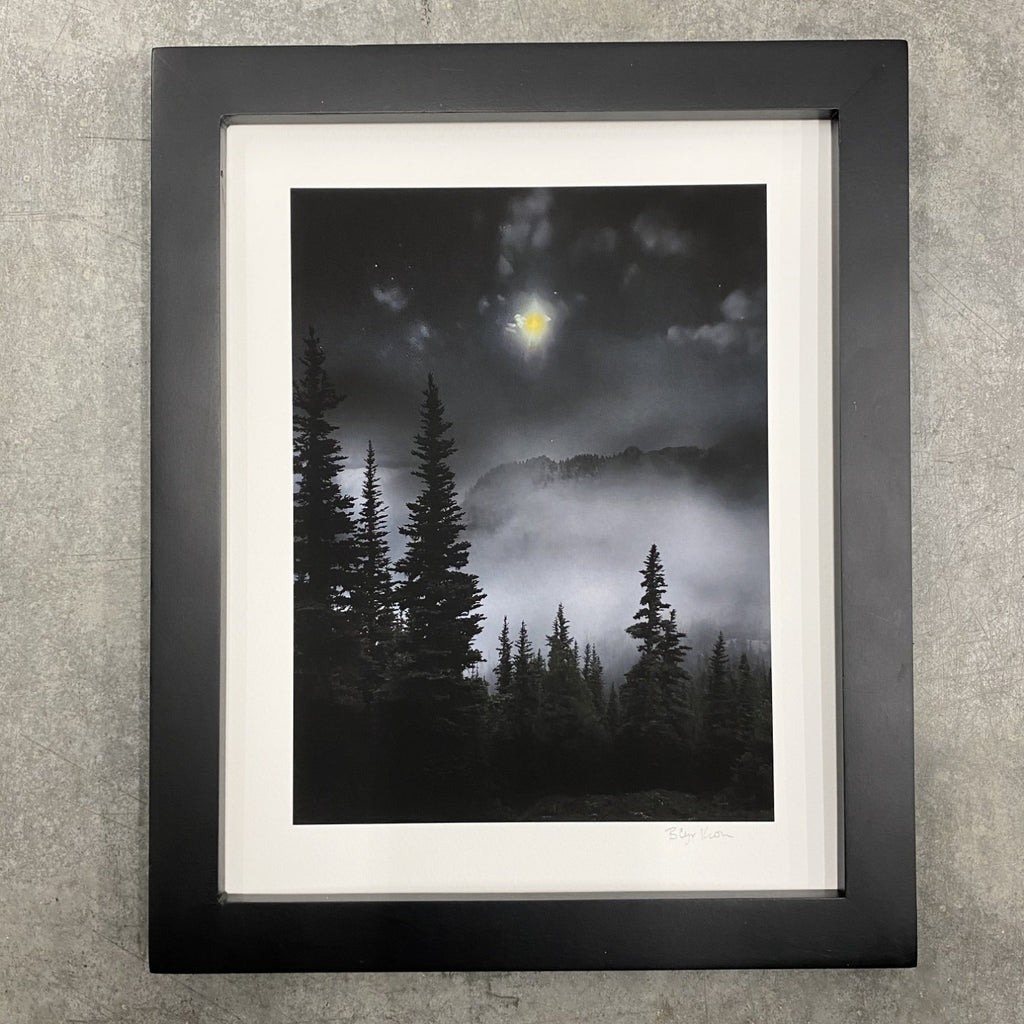 Winter Night Sky 33 - Mystical forest, mountain and moon - Photo Composite Print 4
