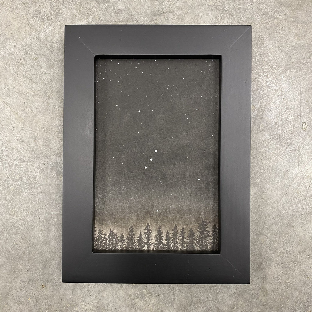 Winter Night Sky 10 - Orion over the tree line - 4 x 6 - Original Drawing