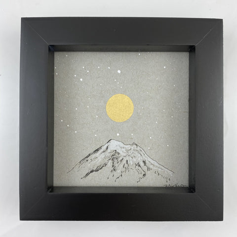"Mt. Baker Inspired Snowy Mountain and Moon with Little Dipper - Grey and Gold Collection #19 - Original drawing - 4""x4"""