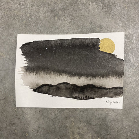 Winter Night Sky 7 - Light behind the mountains - 3.5 x 5 - Original Drawing
