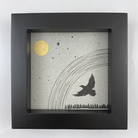"Eagle Silhouette with Aquila (Eagle) Constellation - Grey and Gold Collection #20 - Original drawing - 4""x4"""
