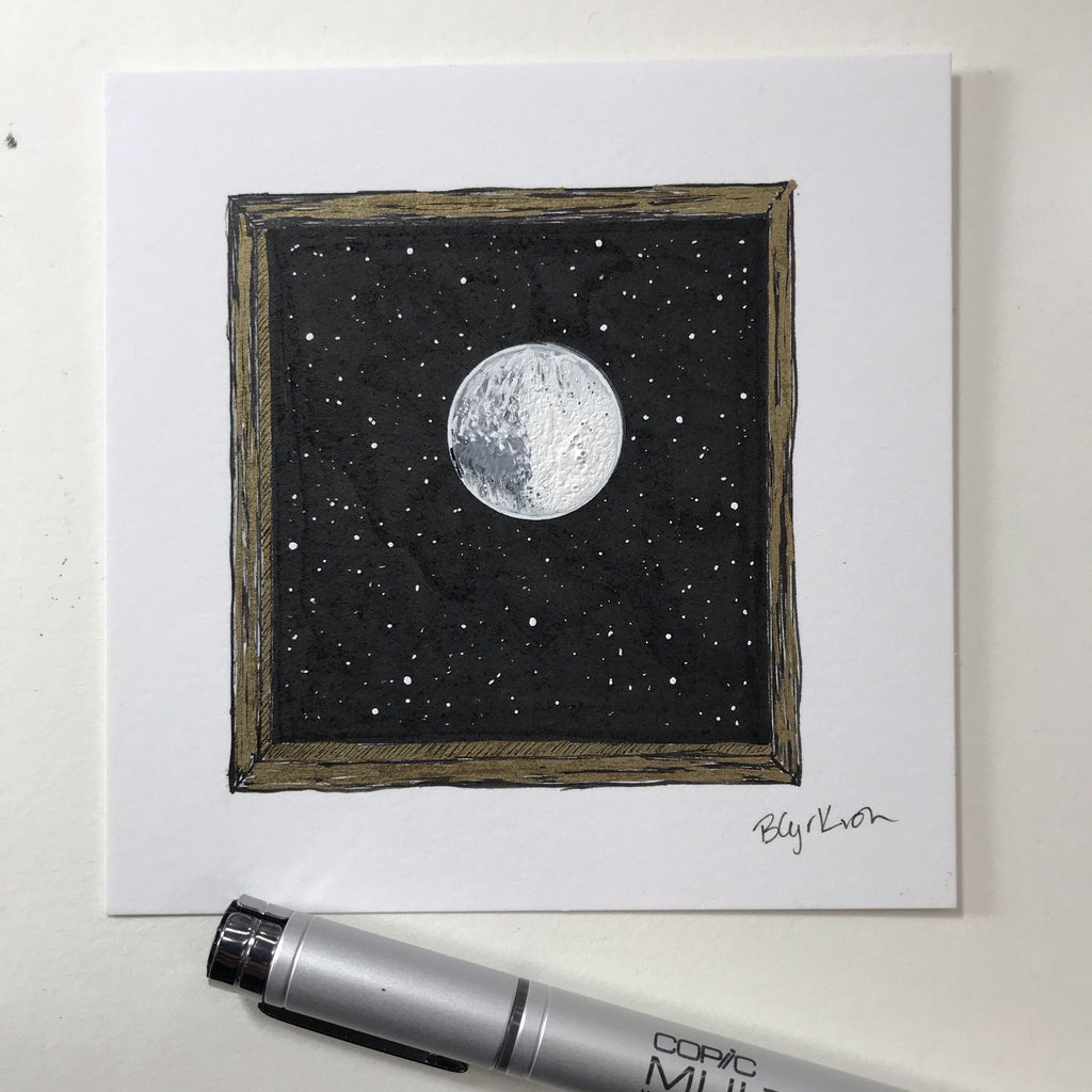 "inktober day 18 - misfit - original drawing - 4""x4"" - ready to ship"