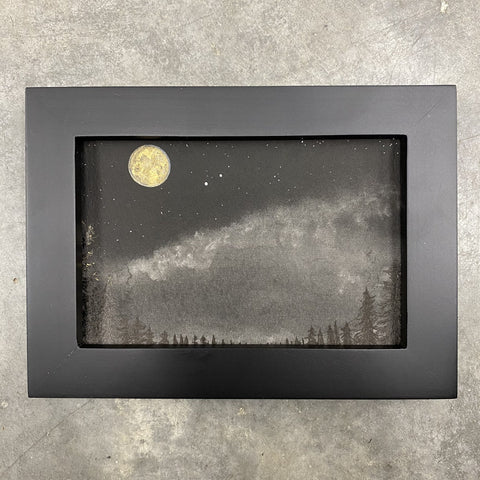 Winter Night Sky 11 - Full moon over the clouds and trees - 4 x 6 - Original Drawing