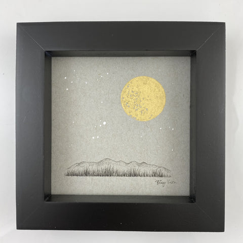 "Lyra, Full Moon and a Grassy Mountain Horizon - Grey and Gold Collection #21 - Original drawing - 4""x4"""