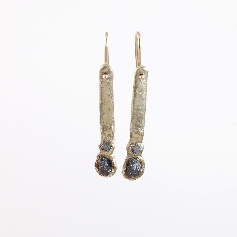 Meteorite and Rough Diamond Earrings in 14k Yellow gold #1 - Ready to Ship - Beth Cyr Handmade Jewelry
