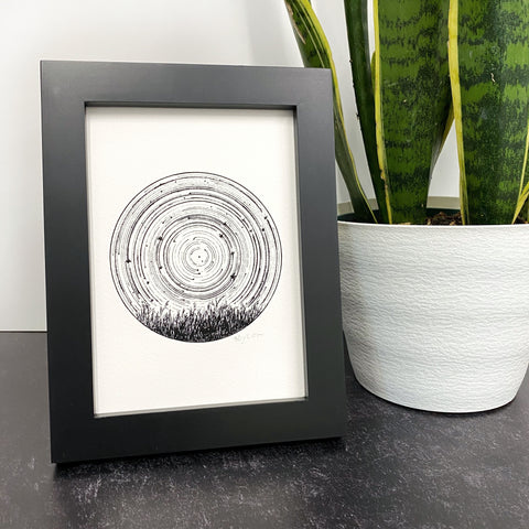 Leo - Star Trails - Zodiac Constellations - Pen and Ink Drawing Print