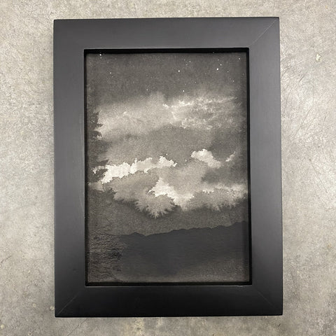 Winter Night Sky 2 - Illuminated clouds - 5 x 7 - Original Drawing