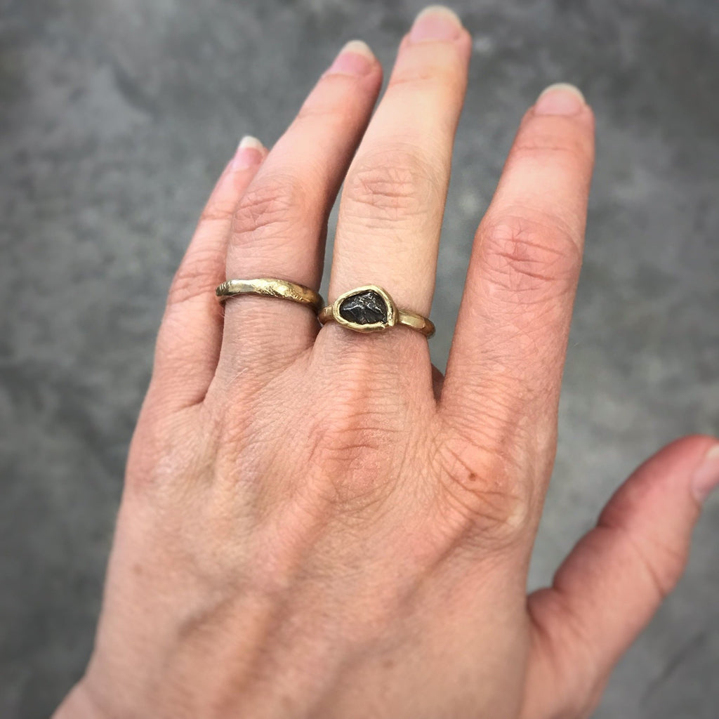 Single Meteorite Ring in 14k Yellow Gold- size 5 - Ready to Ship - Beth Cyr Handmade Jewelry