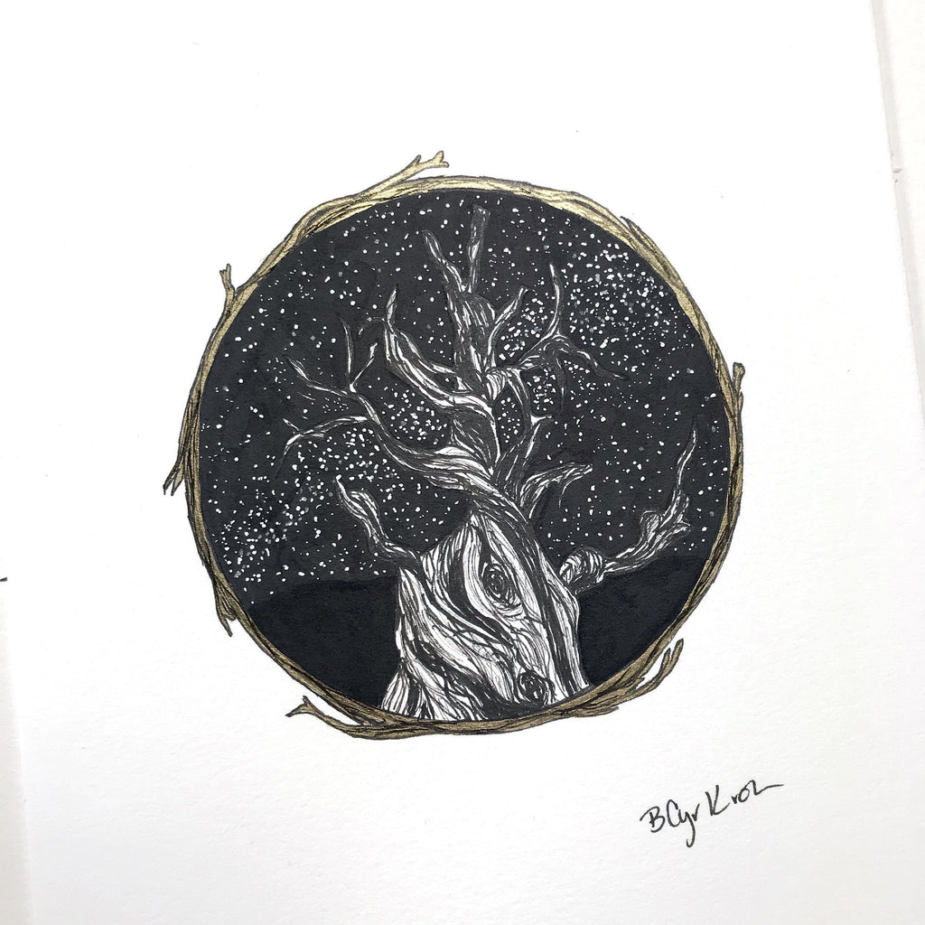 "inktober day 23 - ancient - original drawing - 6"" x 8"" - ready to ship - Beth Cyr Handmade Jewelry"