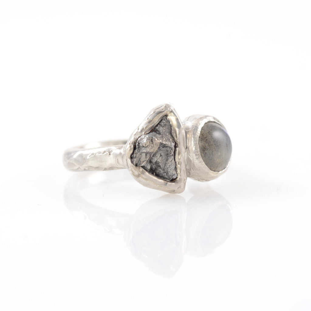 Meteorite Ring with Labradorite in Palladium Sterling Silver - size 5.5 - Ready to Ship - Beth Cyr Handmade Jewelry