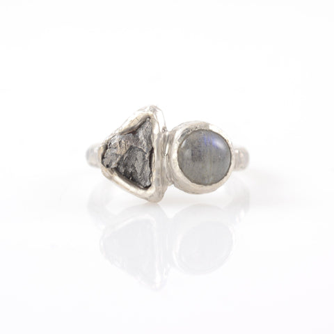 Meteorite Ring with Labradorite in Palladium Sterling Silver - size 5.5 - Ready to Ship