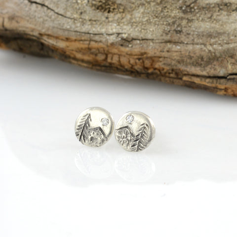 Landscape Earrings - Mountain and Tree with Moissanite Sterling Silver Post Earrings - extra small size - Ready to Ship