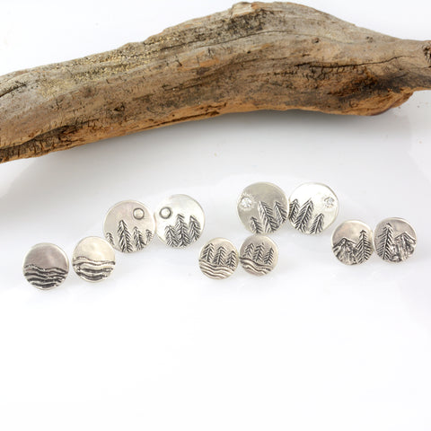 Custom Landscape Earrings - Sterling Silver Post Earrings - Made to Order