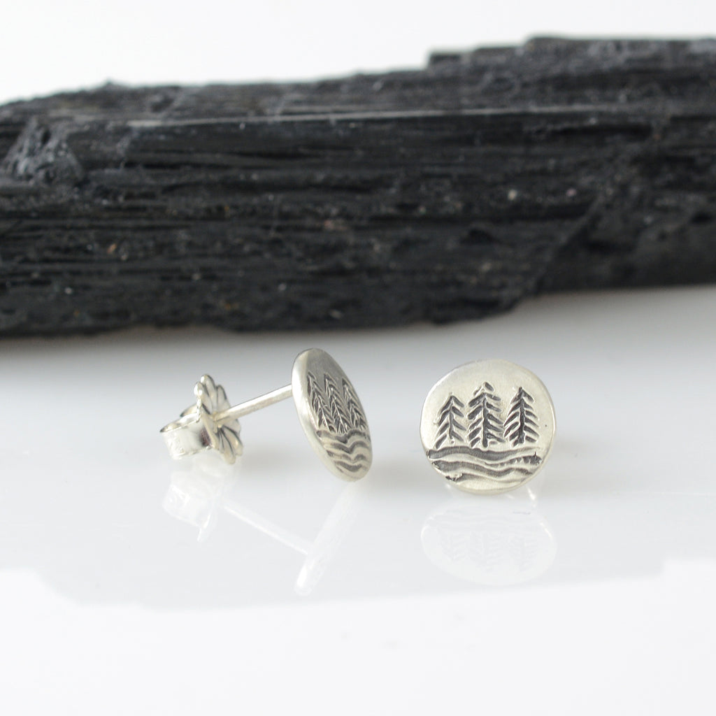 Landscape Earrings - Tree line and Full Moon Sterling Silver Post Earrings - Ready to Ship