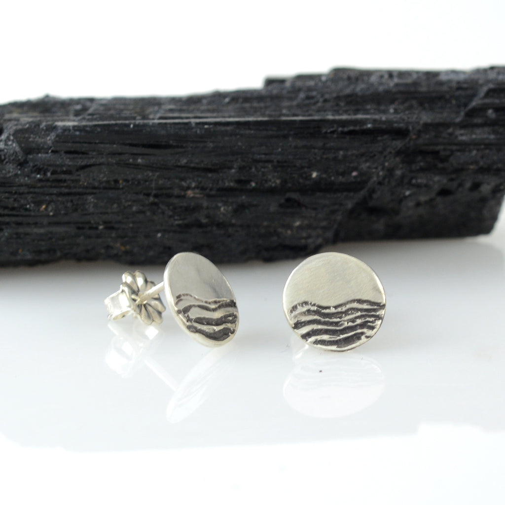 Landscape Earrings - Sea and Sky Sterling Silver Post Earrings - Ready to Ship