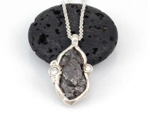 Large Meteorite and Multiple Moissanite Pendant in Sterling Silver - Ready to Ship