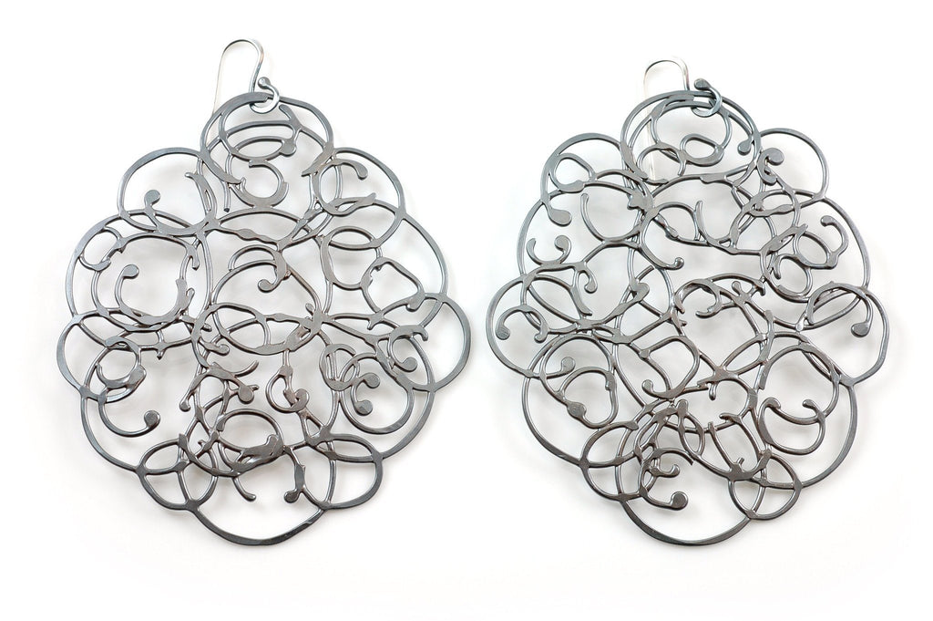 Organic Vine Earrings - Size Large - Made to Order - Beth Cyr Handmade Jewelry