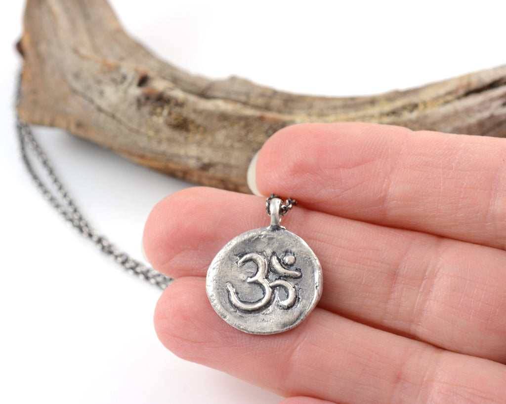 Sterling Silver Om Pendant - (large om design) - Ready to Ship - Beth Cyr Handmade Jewelry