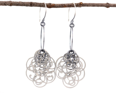 Multi-Layer Organic Vine on Circle in Sterling Silver - Ready to Ship - Beth Cyr Handmade Jewelry