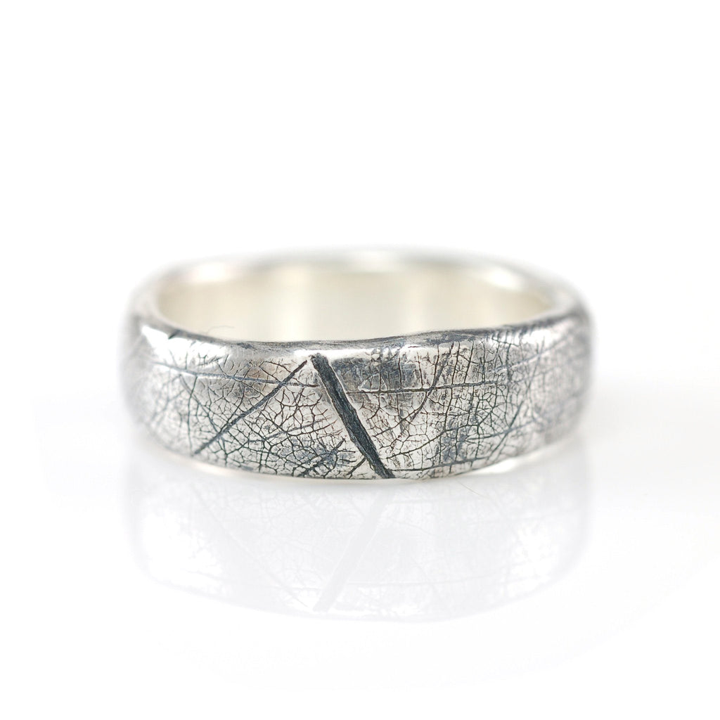 Leaf Imprint Band in Palladium Sterling Silver - Size 8 - Ready to Ship - Beth Cyr Handmade Jewelry