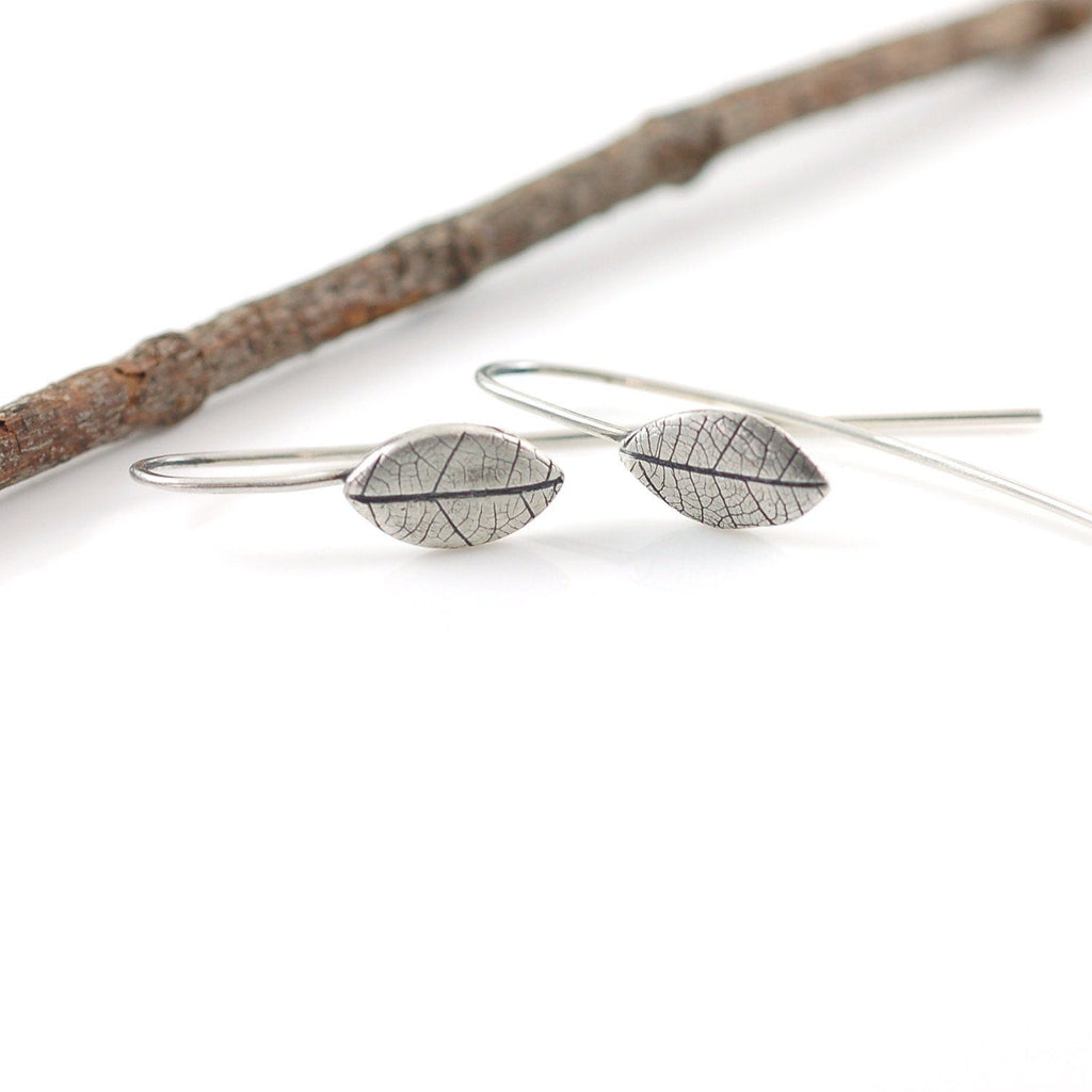 Leaf Imprint Earrings in Sterling Silver - Made to Order - Beth Cyr Handmade Jewelry