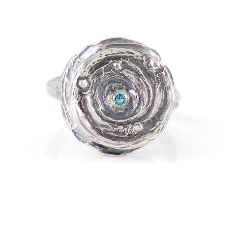 Echo of a Star Ring with Blue Diamond in Sterling Silver - Size 5.5 - Ready to Ship - Beth Cyr Handmade Jewelry