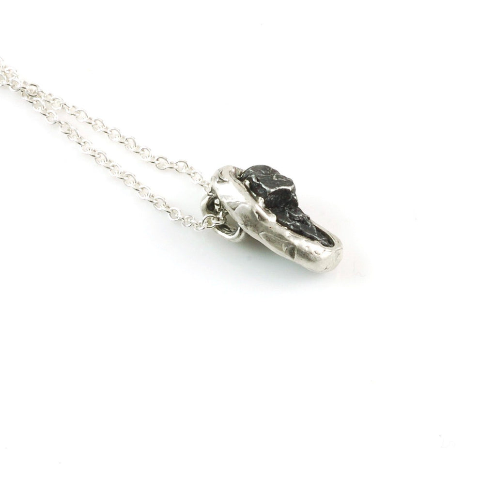 Long Meteorite Pendant in Sterling Silver - Ready to Ship - Beth Cyr Handmade Jewelry
