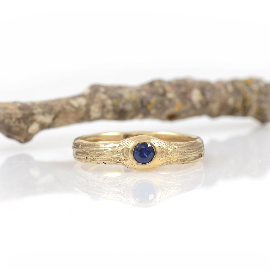 Blue Sapphire Love Knot Engagement Ring in 14k Yellow Gold - size 6 - Ready to Ship - Beth Cyr Handmade Jewelry