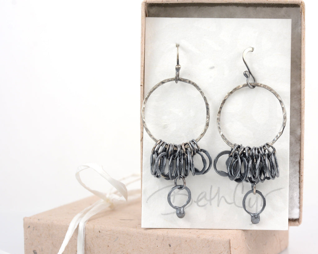 Circle Earrings in Sterling Silver with Patina #34 - Ready to ship - Beth Cyr Handmade Jewelry