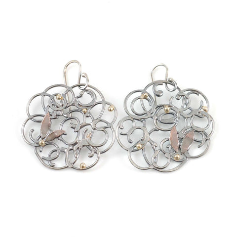 Organic Vine Earrings in Argentium Sterling Silver with Gold and Copper - Size Medium - Ready to Ship - Beth Cyr Handmade Jewelry