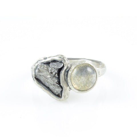 Meteorite Ring with Labradorite in Palladium Sterling Silver - size 6 - Ready to Ship