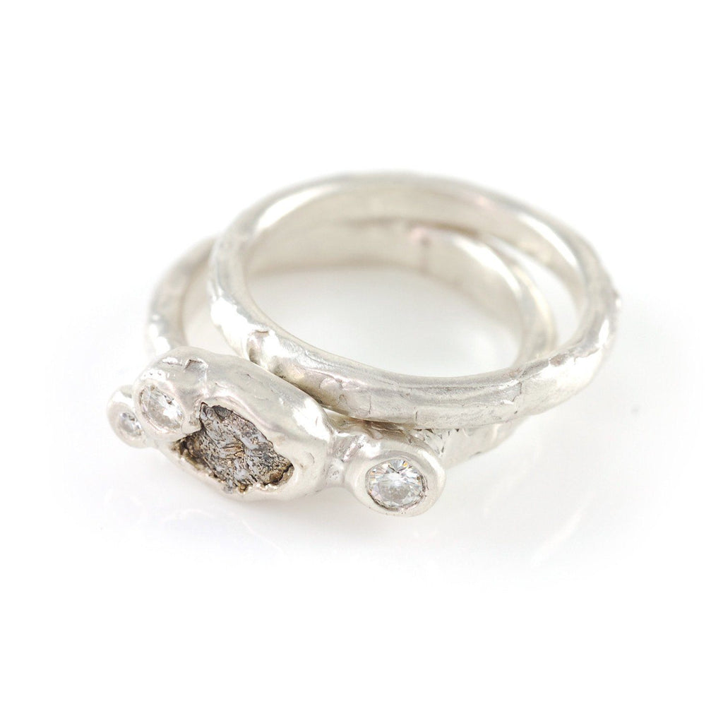 Meteorite Ring with 3 Moissanites in Palladium Sterling Silver with 2mm stacking ring - size 4.5 - Ready to Ship