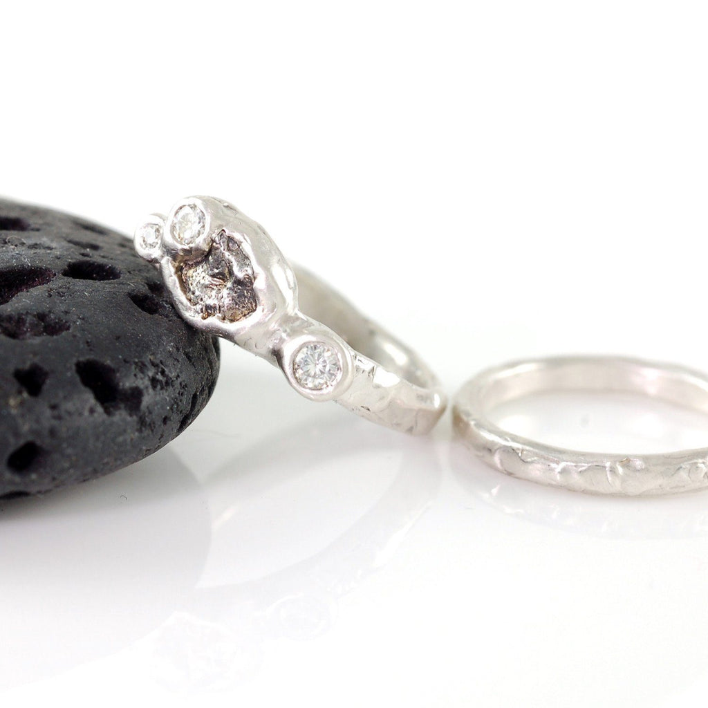Meteorite Ring with 3 Moissanites in Palladium Sterling Silver with 2mm stacking ring - size 4.5 - Ready to Ship - Beth Cyr Handmade Jewelry